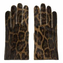 Raf Simons Brown Leather Animal Print Gloves 192287M13500403GB