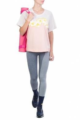 Двухцветная футболка с сетчатыми вставками Adidas by Stella McCartney 1377126321