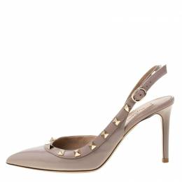 Valentino Beige Patent Leather Studded Pointed Toe Slingback Sandals Size 36.5 215157