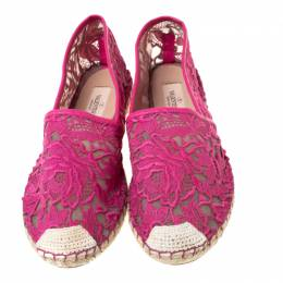 Valentino Pink Lace Espadrilles Size 39 215837