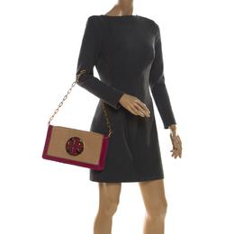 Tory Burch Tan/Pink Raffia and Leather Reva Foldover Clutch 212859
