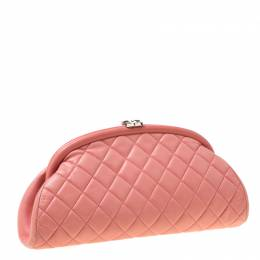 Chanel Pink Quilted Caviar Leather Timeless Clutch 212664