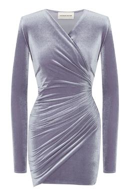 Платье стального цвета с драпировкой Alexandre Vauthier 356144966