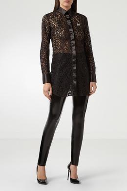 Черная удлиненная блузка из кружева Philipp Plein 1795145437