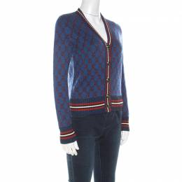 Gucci Blue Wool Metallic Logo Embroidered Cardigan XS 215376