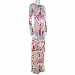 Emilio Pucci Multicolor Signature Print Silk Lace-Up Back Maxi Dress M 215817