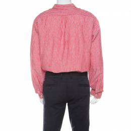 Ralph Lauren Red and White Striped Linen Button Down Custom Fit Shirt XXL 213604