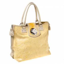 Etro Yellow Paisley Embossed Patent Leather Tote 213325