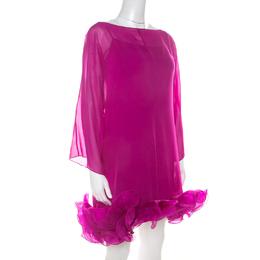 Marchesa Notte Fuschia Pink Silk Chiffon Ruffle Hem Detail Short Dress L