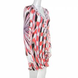 Emilio Pucci Multicolor Signature Print Jersey Knit Drawstring Short Dress M 215795