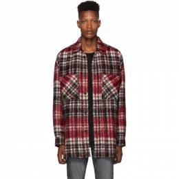 Faith Connexion Red and Black Tweed Check Shirt 192848M19200904GB