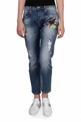 Синие джинсы с прорезями и принтом Iceberg 1214145395