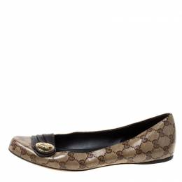 Gucci Beige GG Crystal Canvas And Leather Trim Hysteria Ballet Flats Size 41 215786