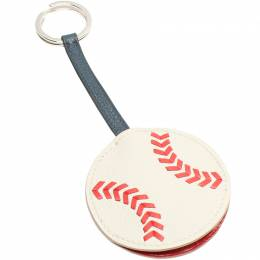 Hermes White Leather Baseball Key Ring 216001