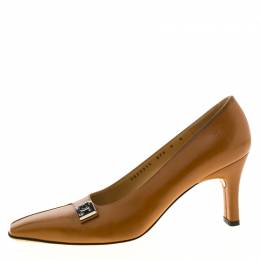 Salvatore Ferragamo Brown Leather Buckle Detail Pumps Size 38.5 216466
