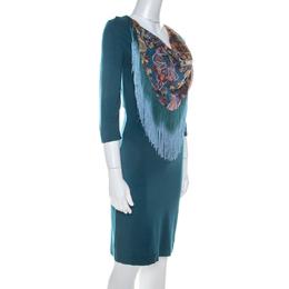 Just Cavalli Teal Blue Stretch Jersey Fringe Detail Dress M 216189
