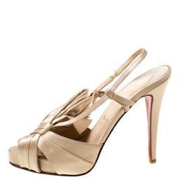 Christian Louboutin Beige Satin Slingback Platform Sandals Size 38.5
