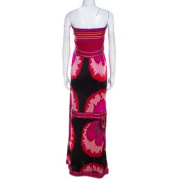 M Missoni Multicolor Printed Jersey Strapless Maxi Dress M 215446