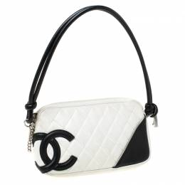 Chanel White/Black Quilted Leather Ligne Cambon Pochette 213597