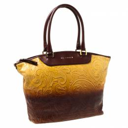 Etro Yellow/Brown Ombre Paisley Embossed Leather Zip Tote 213328