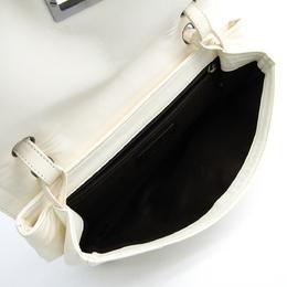 Chanel Ivory/Brown Calfskin Leather Flap Shoulder Bag 215881