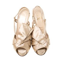 Christian Louboutin Beige Satin Slingback Platform Sandals Size 38.5 215438