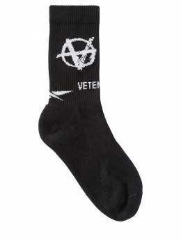 "Носки Из Хлопка ""anarchy"" Vetements 70IW3L012-QkxBQ0s1"