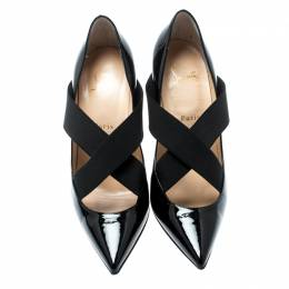 Christian Louboutin Black Patent Leather Sharpstagram Cross Strap Pointed Toe Pumps Size 39.5 192758