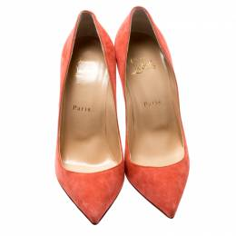 Christian Louboutin Coral Pink Suede Pigalle Follies Pointed Toe Pumps Size 37.5 200039