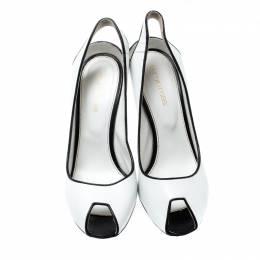 Sergio Rossi Monochrome Leather Peep Toe Slingback Sandals Size 38 200338