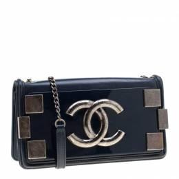 Chanel Blue Leather and Pexiglass Boy Brick Flap Bag 200470