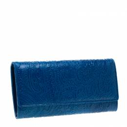 Etro Blue Paisley Leather Continental Wallet 200442