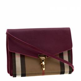 Burberry Purple House Check Fabric and Leather Crossbody Bag 200775