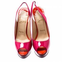 Christian Louboutin Multicolor Color Block Patent Leather Lady Peep Toe Platform Slingback Sandals Size 38 200801