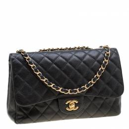 Chanel Black Quilted Leather Jumbo Classic Single Flap Bag 200793