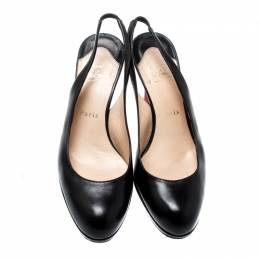 Christian Louboutin Black Leather Platform Slingback Sandals Size 38 200536