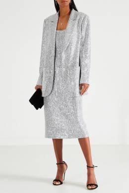 Серебристое платье с пайетками St. John 1655145648