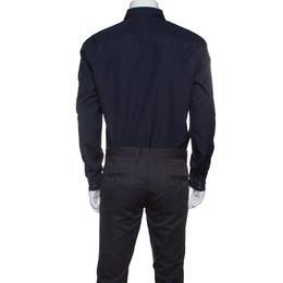 Kenzo Navy Blue Cotton Contrast Stripe Detail Slim Fit Shirt XL 147044