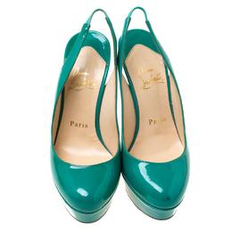 Christian Louboutin Green Patent Leather Bianca Platform Slingback Sandals Size 35.5 217265