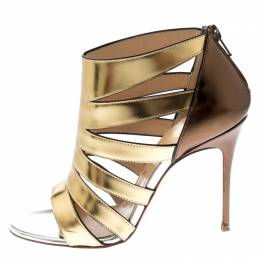 Christian Louboutin Gold/Bronze Patent Leather Strappy Open Toe Sandals Size 35.5 216873