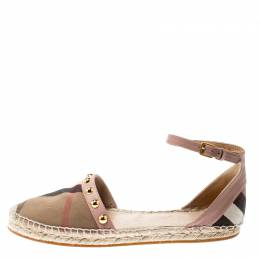 Burberry Pink Studded Leather and Nova Check Canvas Abbingdon Espadrille Flats Size 40.5 216905