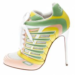 Christian Louboutin Multicolor Leather and Mesh Boltina Trainer Booties Size 39.5 216902