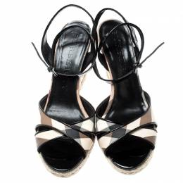 Burberry Black Nova Check Patent Leather and PVC Ankle Strap Espadrille Wedges Size 41 216924
