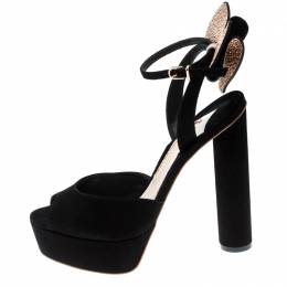 Sophia Webster Black Suede Raye Bow Ankle Strap Platform Sandals Size 38.5 216557