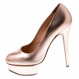 Charlotte Olympia Metallic Gold Leather Dolly Platform Pumps Size 39.5 216620