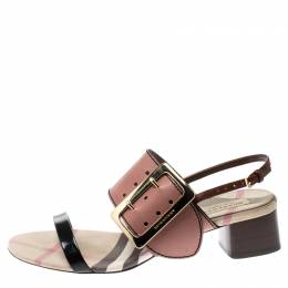 Burberry Tricolor Leather Sawley Trench Buckle Slingback Sandals Size 40