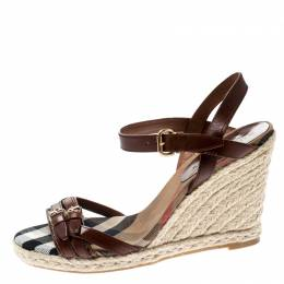 Burberry Brown Belted Leather Espadrille Wedges Sandals Size 41 216883