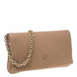 Carolina Herrera Beige Leather Flap Crossbody Bag 215474