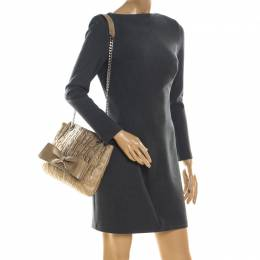 Carolina Herrera Metallic Gold Monogram Leather Audrey Shoulder Bag 215407