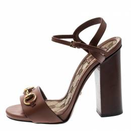 Gucci Brown Leather Lifford Horsebit Ankle Strap Sandals Size 37 216814